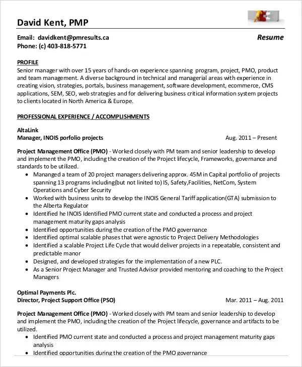 pmp certified resume template