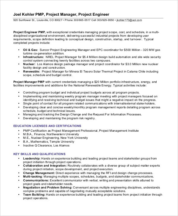 Project Management Resume Example - 10+ Free Word, PDF Documents - project management resume templates