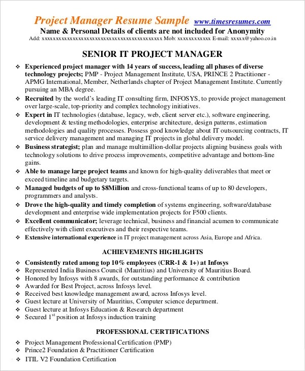 Project Management Resume Example - 10+ Free Word, PDF Documents - resume for project manager position