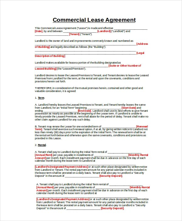 Commercial Lease Agreement - 10+ Free PDF, Word Documents Download - Commercial Property Lease Agreement Free Template