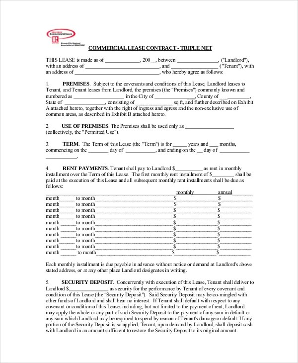Commercial Lease Agreement - 10+ Free PDF, Word Documents Download - triple net lease form