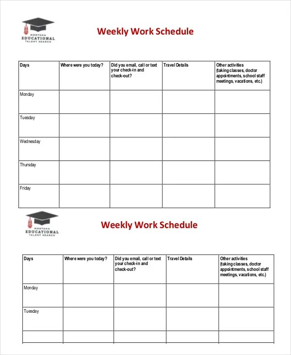 Weekly Schedule Template - 10+ Free Word, Excel PDF Documents