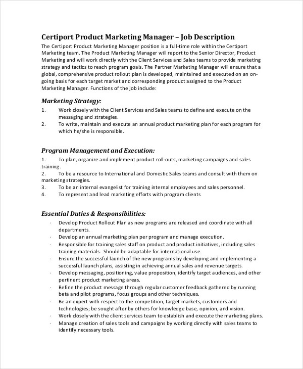 19+ Marketing Job Descriptions - Free Sample, Example, Format Free