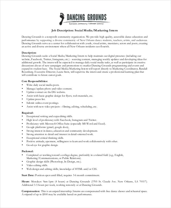 Business Intern Job Description Sales Development Representative