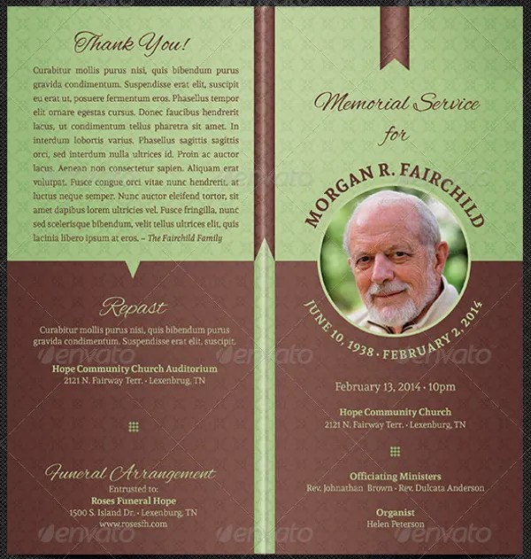 memorial program template - Ozilalmanoof - memorial program