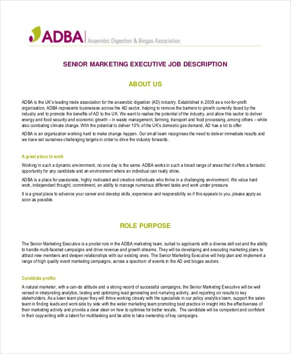19+ Marketing Job Descriptions - Free Sample, Example, Format Free
