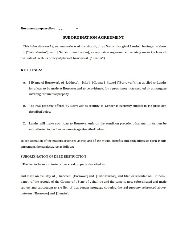 13+ Subordination Agreements - Free Word, PDF Format Free
