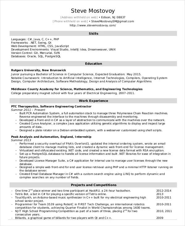 software engineer cv pdf