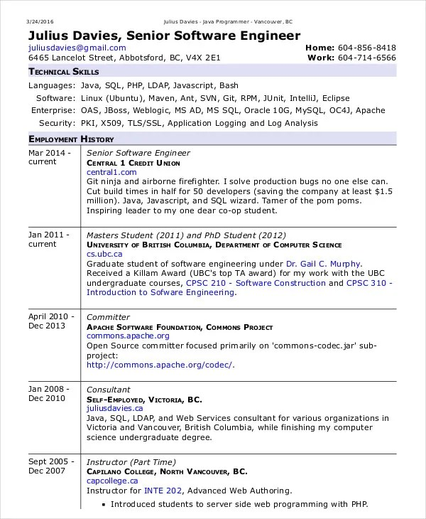 Software Engineer Resume Example - 10+ Free Word, PDF Documents - resume format for experienced software developer