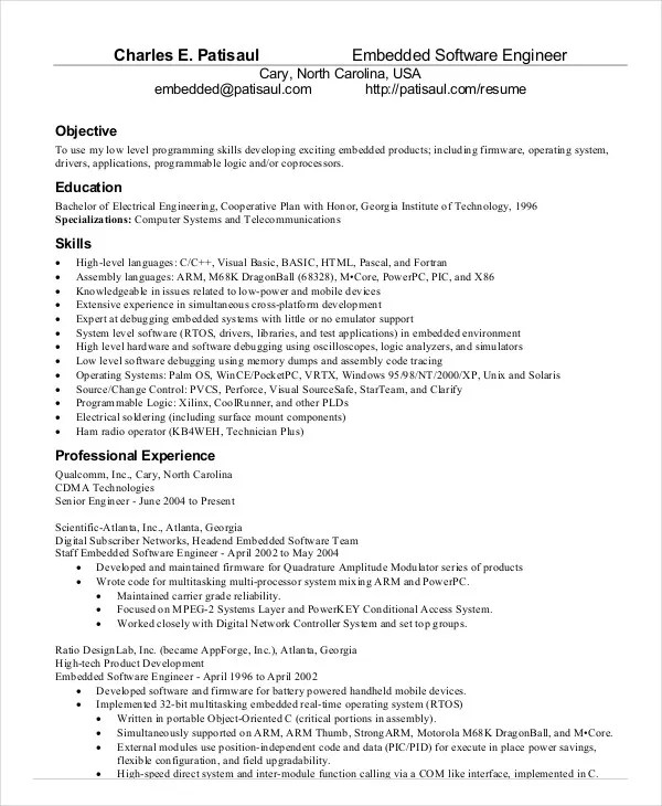 embedded software engineer resume - Onwebioinnovate - software developer resumes