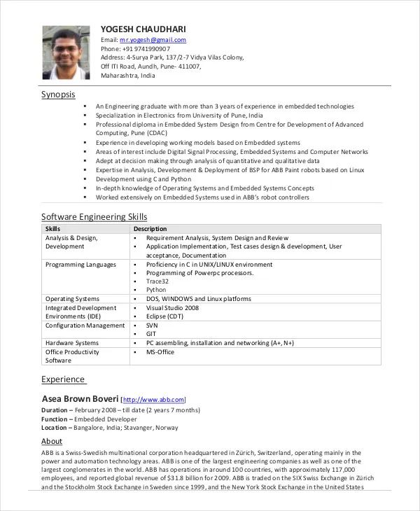 experienced software professional resume sample