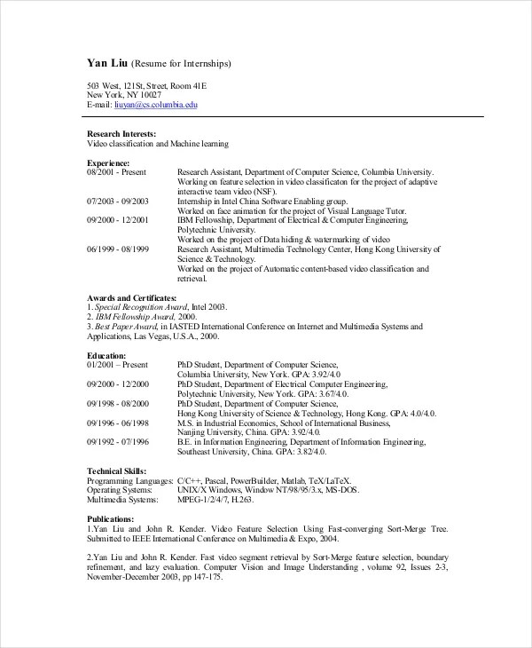 resume for interns - Data Science Internship Resume