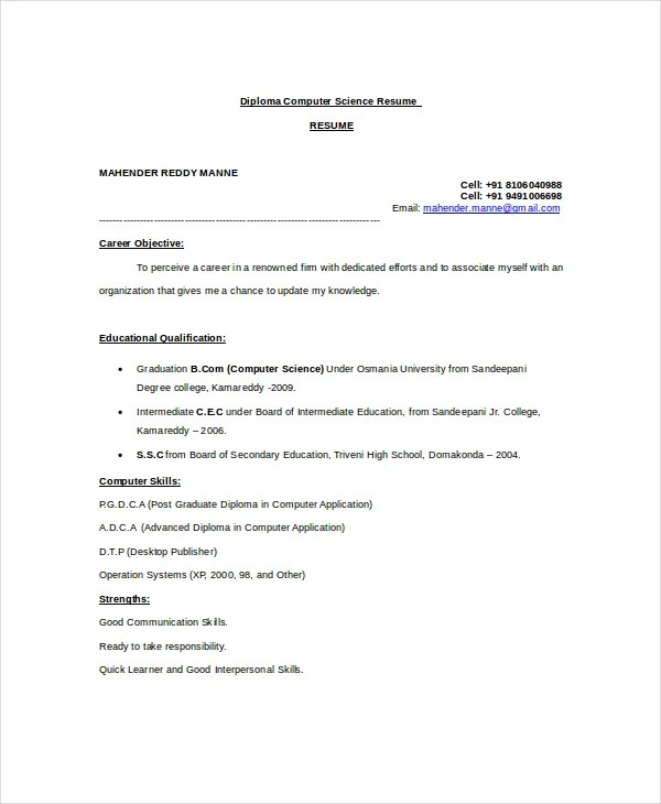 Computer Science Resume Example - 9+ Free Word, PDF Documents - science resume template