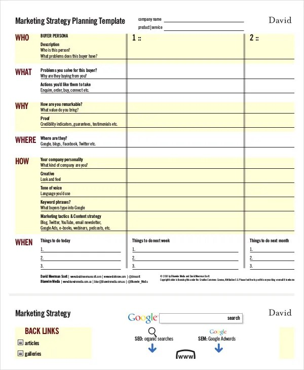 Marketing Strategy Template - 11+ Free Sample, Example, Format