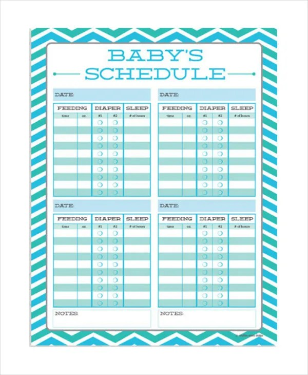 Baby Feeding Schedule - 9+ Free Word, PDF, PSD Documents Download