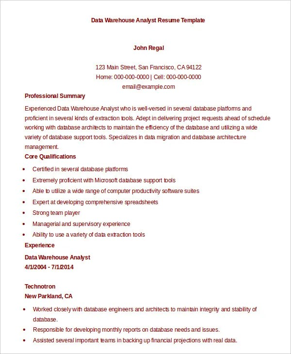 9+ Data Analyst Resume Examples - PDF, DOC Free  Premium Templates - data quality analyst sample resume