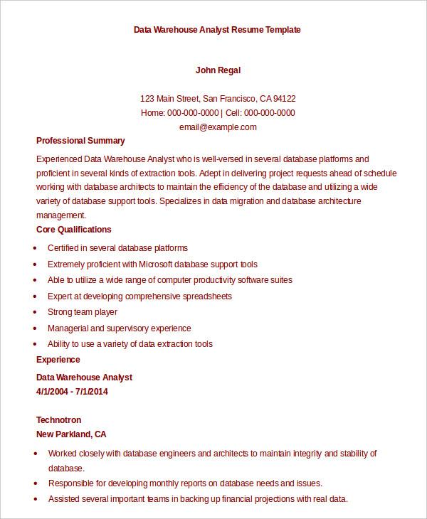 data warehouse resume example