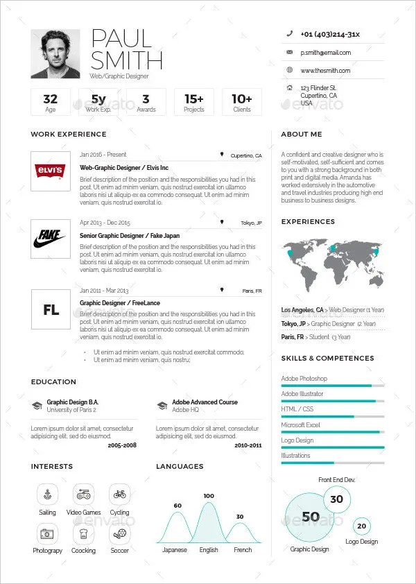 18+ Infographic Resumes - Free PSD, Vector AI, EPS Format Download - infographic resume examples
