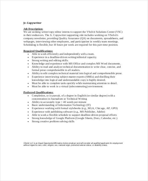 10+ Copywriter Job Description Templates - PDF, DOC Free  Premium - copywriter job description