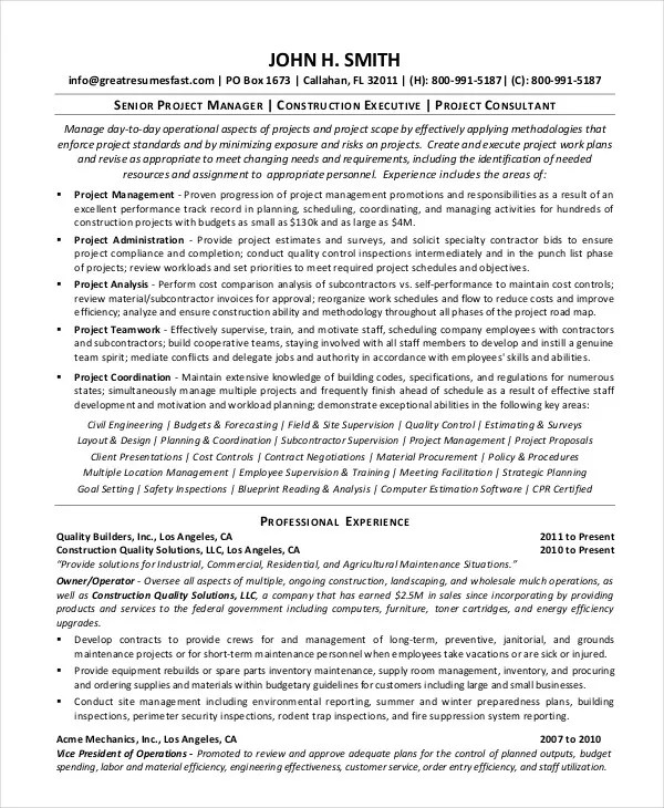 10+ Construction Resume Example - PDF, DOC Free  Premium Templates - senior project manager resume sample