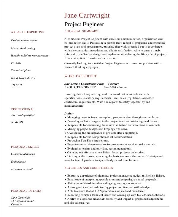 construction engineer resume sample