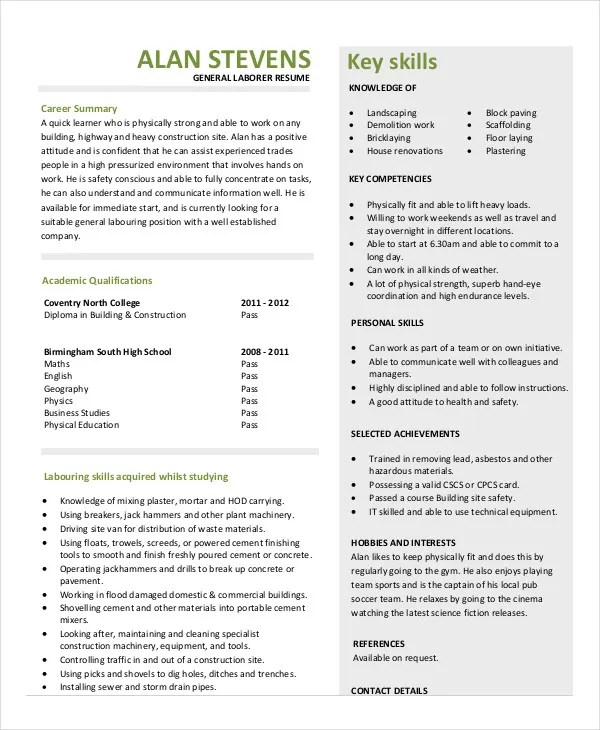 10+ Construction Resume Example - PDF, DOC Free  Premium Templates - construction laborer resumes