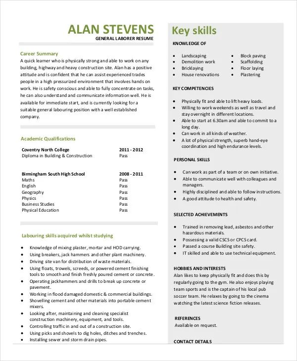 construction laborer resume template