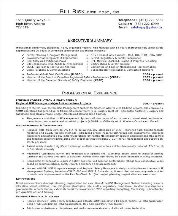 10+ Construction Resume Example - PDF, DOC Free  Premium Templates - safety officer resume