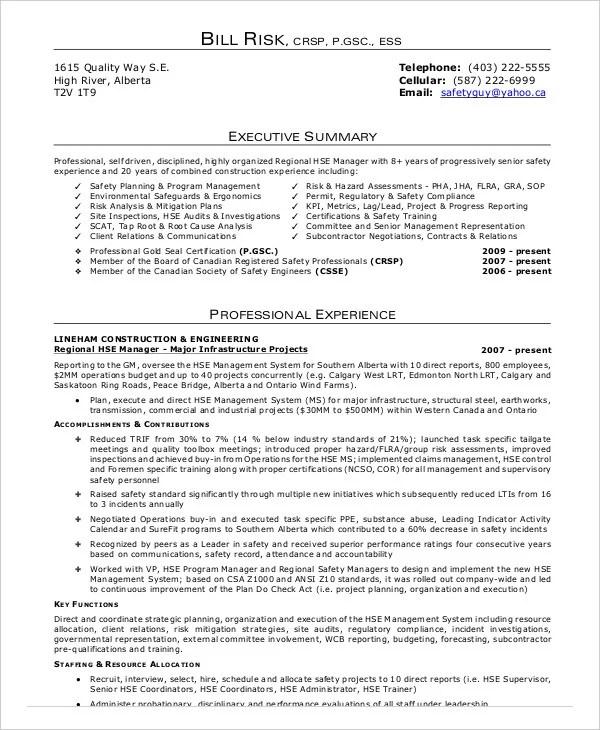 safety manager resume sle coo resume es h energy