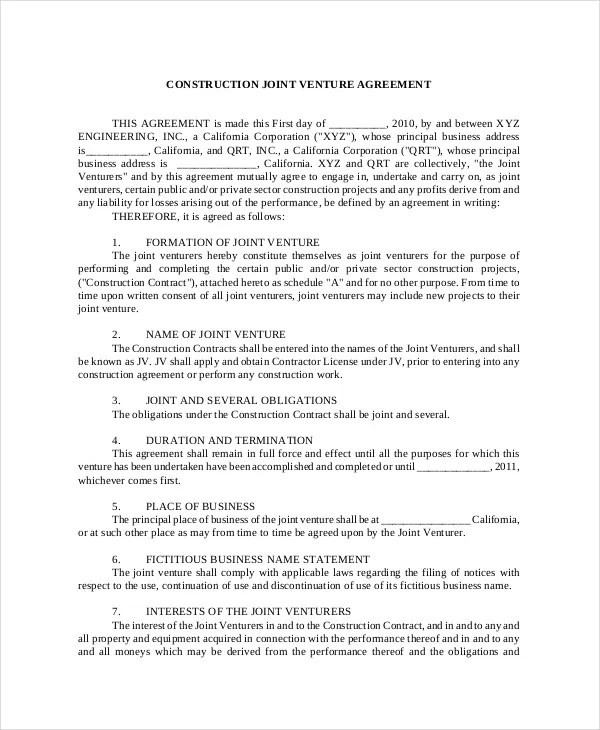 Joint Venture Agreement - 9+ Free Word, PDF Documents Download - joint venture agreement