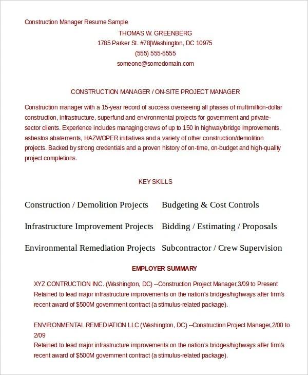 10+ Construction Resume Example - PDF, DOC Free  Premium Templates