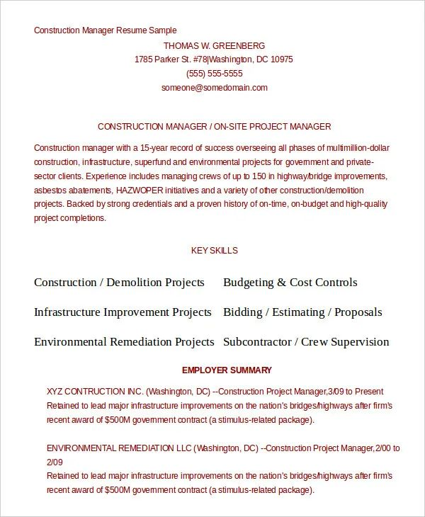 free resume template for laborer
