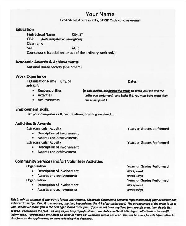 High School Resume Examples For College Admission 12 High School - resume template for college application