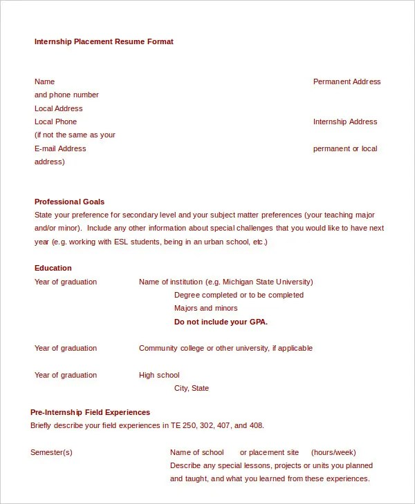 11+ Sample College Resume Templates - PSD, PDF, DOC Free  Premium - resume template for internships for college students