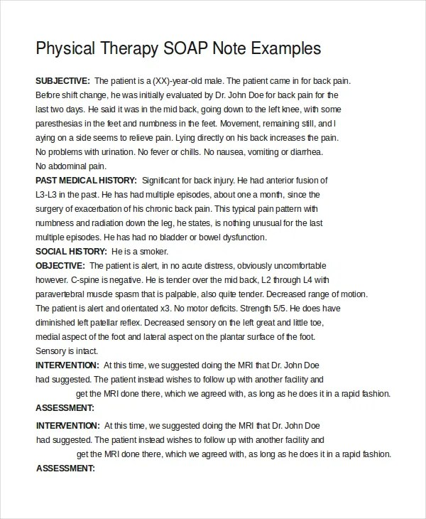 soap notes physical therapy