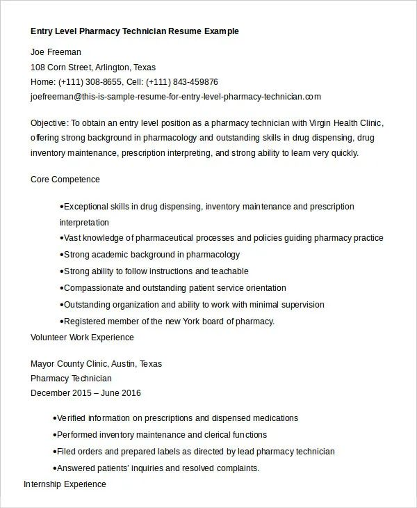 resume template pharmacy assistant