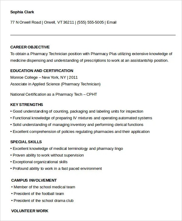 10+ Pharmacy Technician Resume Templates - PDF, DOC Free  Premium - pharmacy technician resume