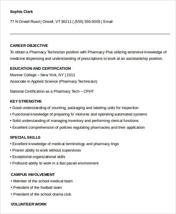 pharmacy technician resume objective sample