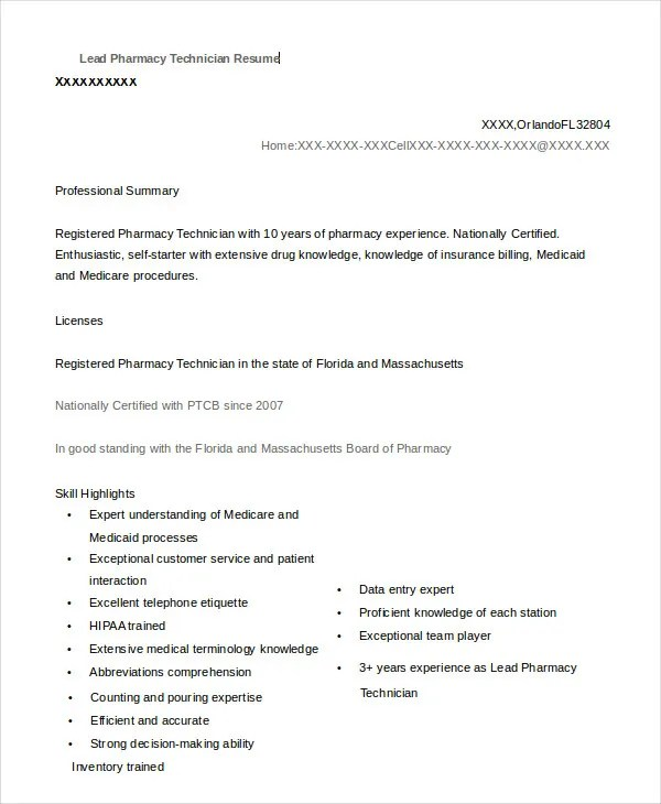 10+ Pharmacy Technician Resume Templates - PDF, DOC Free  Premium