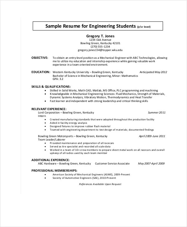 Electrical Engineer Resume Sample 9 Engineering Resumes Free Sample Example Format