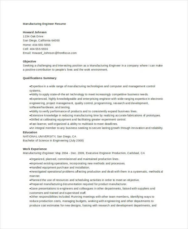 manufacturing engineer resumes - Goalgoodwinmetals