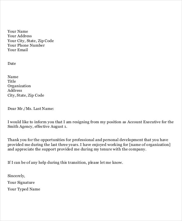 Professional Resignation Letter Two Weeks Notice | Relieving