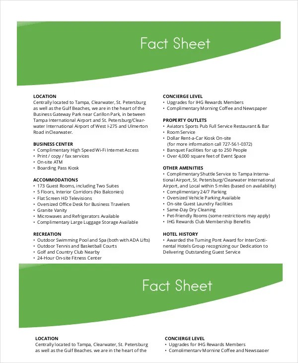Fact Sheet Template - 19+ Free Sample, Example, Format Free