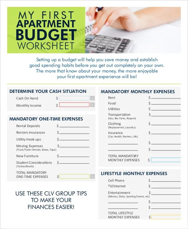Monthly Budget Worksheet - 12+ Free Word, Excel, PDF Documents - Apartment Budget Sheet