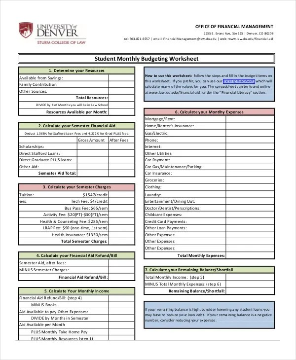 Monthly Budget Worksheet - 12+ Free Word, Excel, PDF Documents - monthly budget estimator