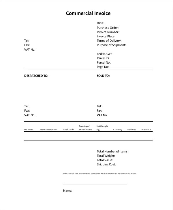 Commercial Invoice - 10+ Free PDF, Word Documents Download Free - comercial invoice template