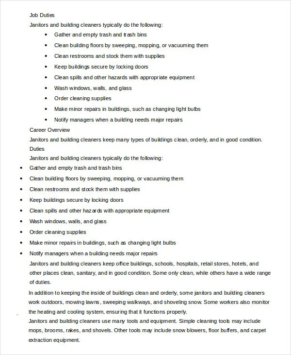 9+ Janitor Job Description Templates - PDF, DOC Free  Premium - Stock Job Description