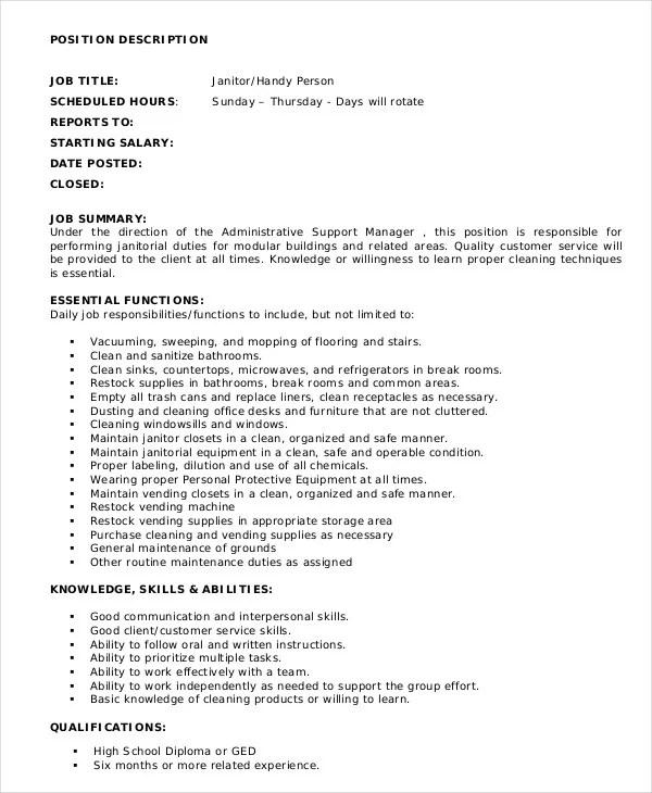 9+ Janitor Job Description Templates - PDF, DOC Free  Premium