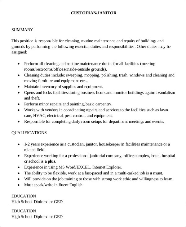 9+ Janitor Job Description Templates - PDF, DOC Free  Premium - Custodian Job Description