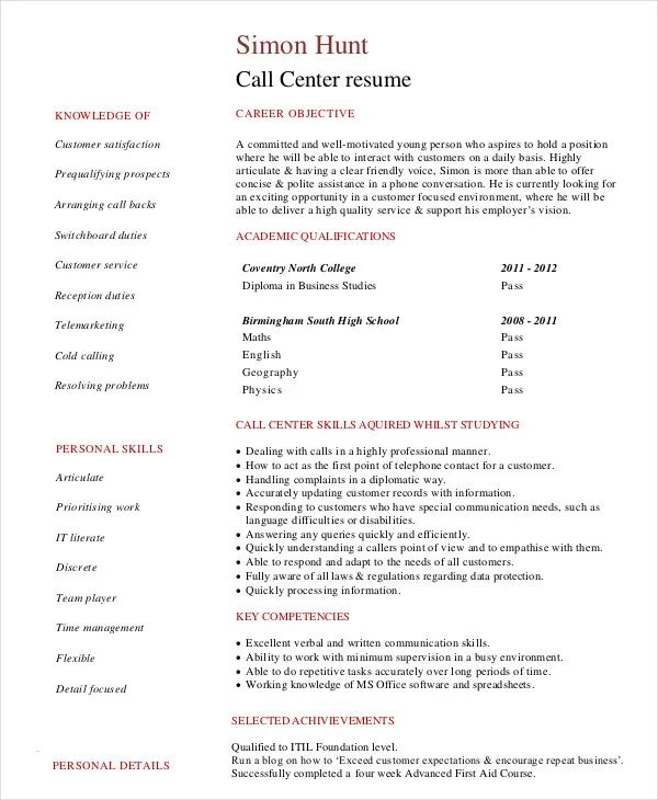 resume examples for call center no experience